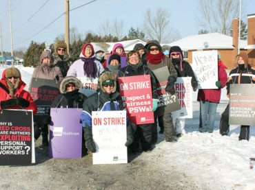 Local personal support workers on strike