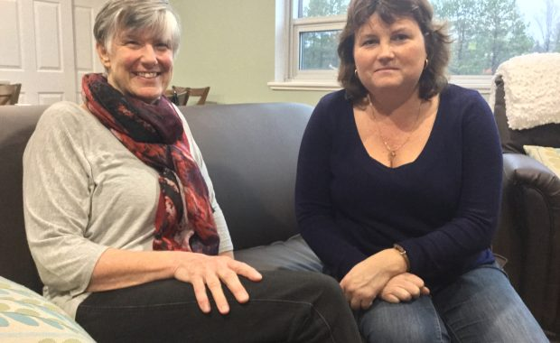 Dawn Cruchet, Grief Educator and Counsellor, MV Hospice Palliative Care and Lisa Hubers, Program Manager, MV Hospice Palliative Care in the family room at the hospice.