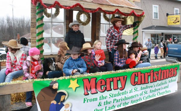 Killaloe was filled with excitement while this western-themed float travelled down Queen Street. The students and parishioners of St. Andrew's and also Our Lady of the Angels wished everyone a Merry Christmas.