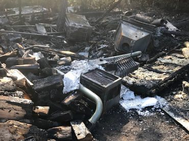 Brush fire destroys shed on Old Barry's Bay Road